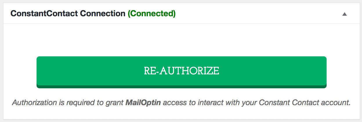 Constant Contact connection successful