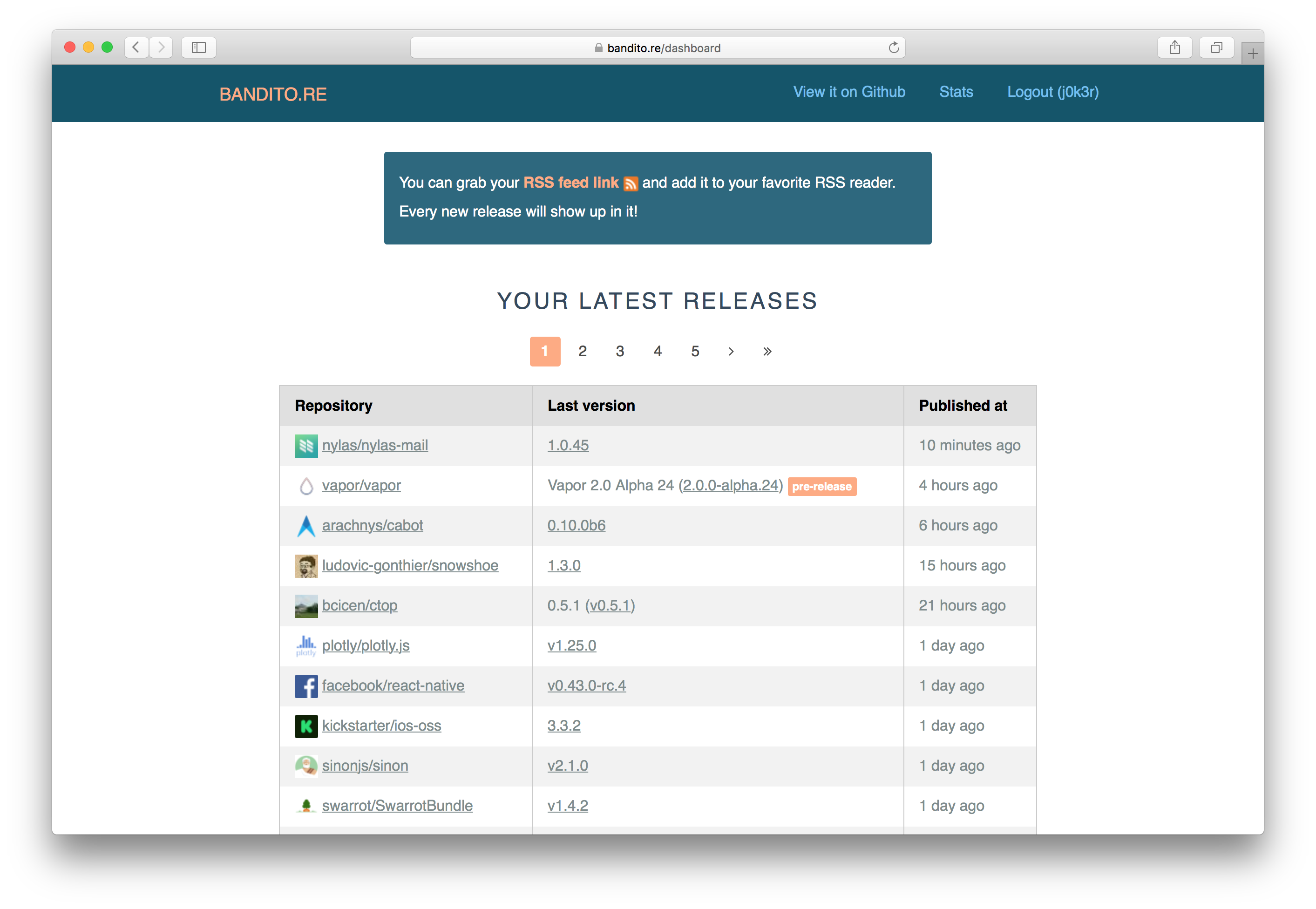 github rss feed for releases