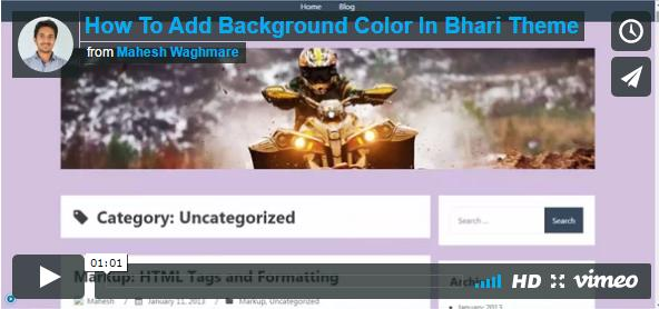 How To Add Background Color In Bhari Theme