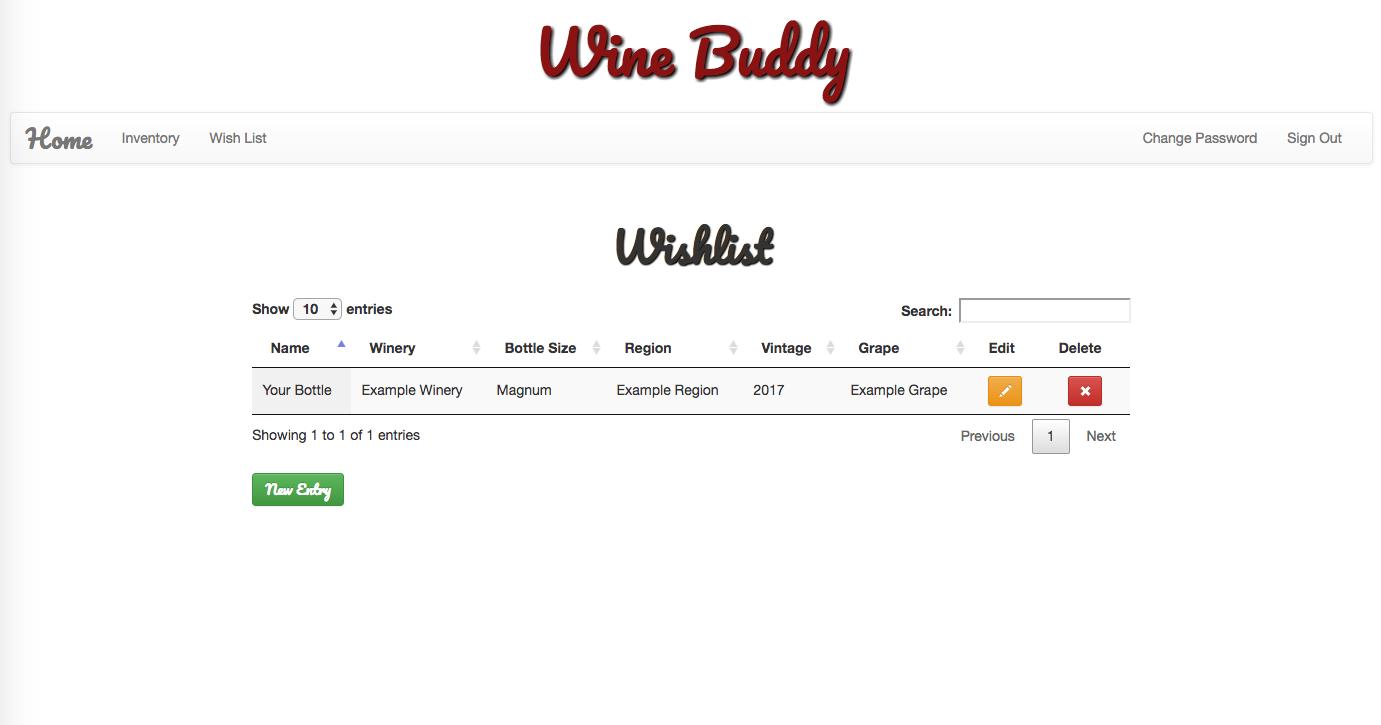 Wine Buddy Wish List