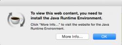 Java error popup