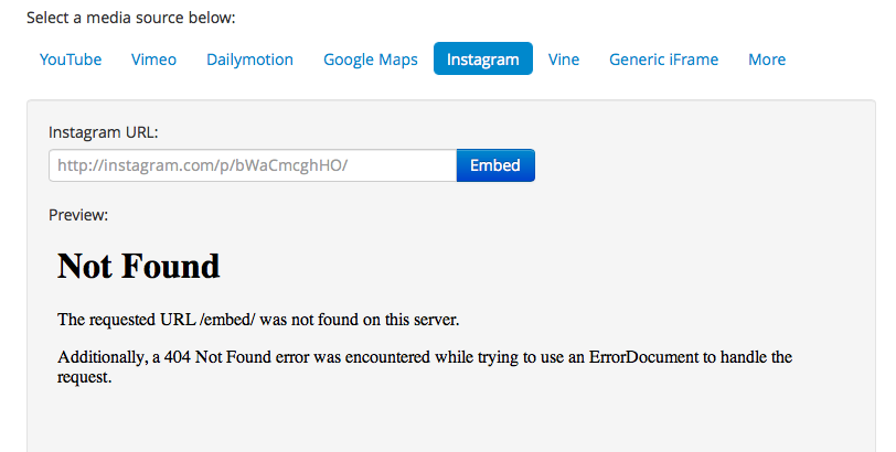 Instagram placeholder shows 404 in preview · Issue #5
