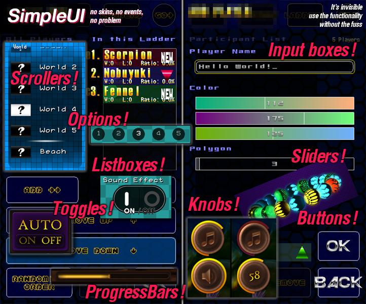 SimpleUI Monkey-X Blitz3D BlitzBasic GUI