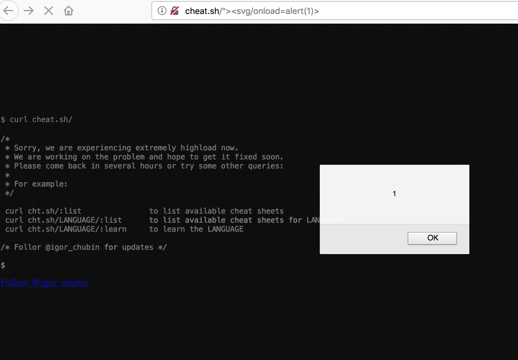 XSS vulnerability via command input in URL · Issue #56 · chubin