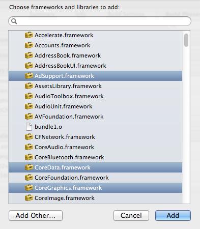 Adding the frameworks dialog