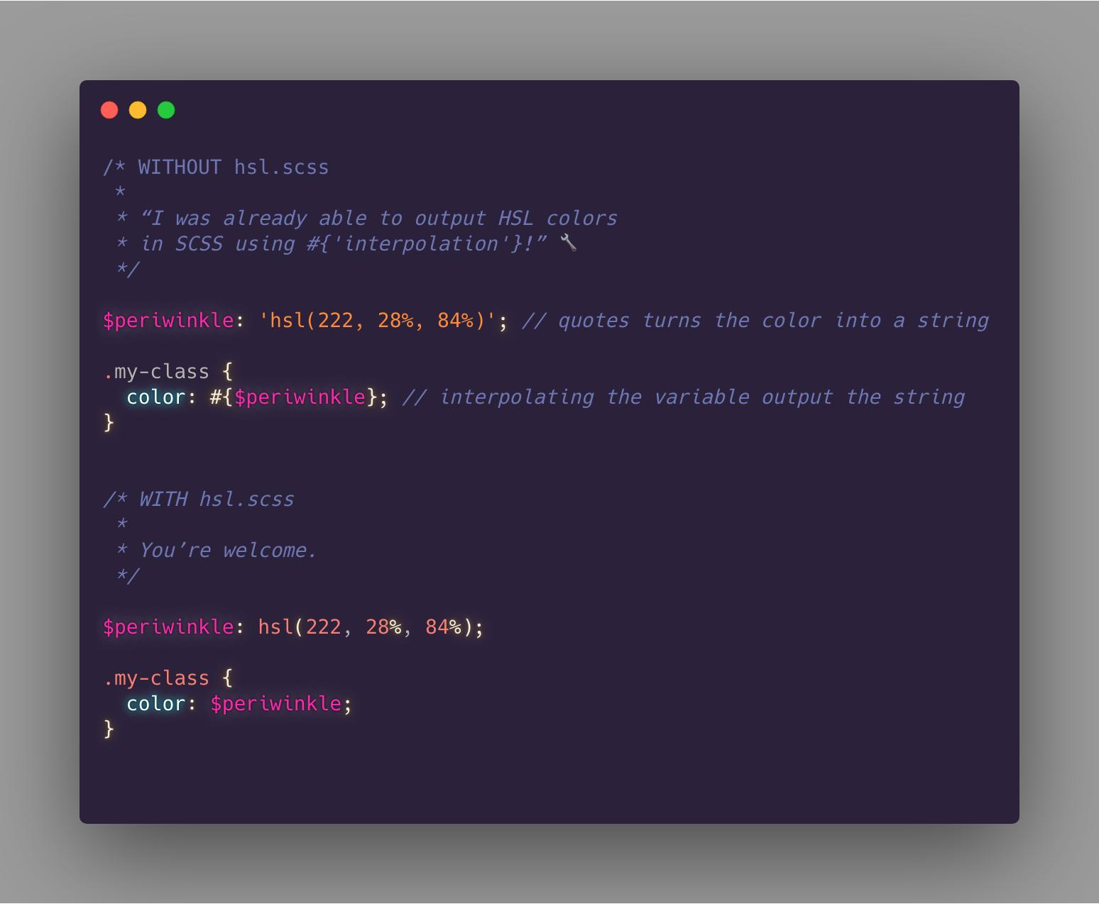 Before: boring interpolation. Now: standard CSS.