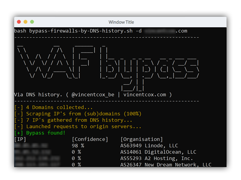GitHub - vincentcox/bypass-firewalls-by-DNS-history: Firewall bypass