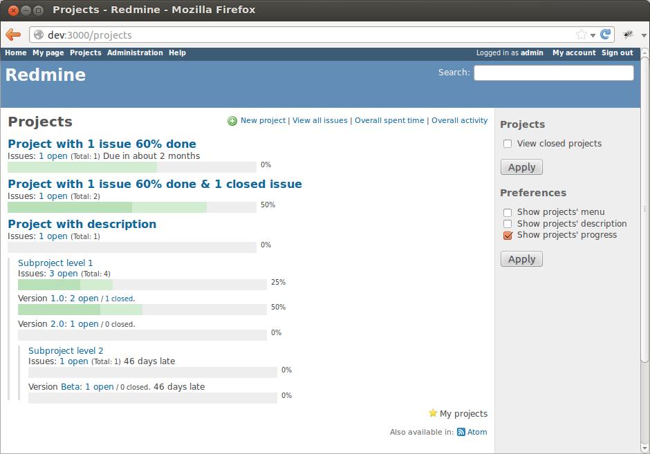 Progressive Projects List Screenshot