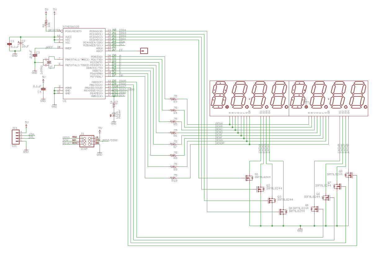 Github Uchip Bubbledisplay I2c To Hp Bubble Display Controller Schematic Available In Pdf And Eagle Formats The