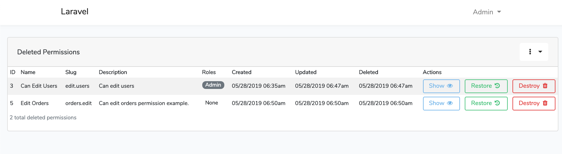 Laravel Roles GUI Roles Soft Deletes Dashboard