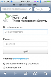 Responsive Forefront TMG Forms Authentication on iPhone