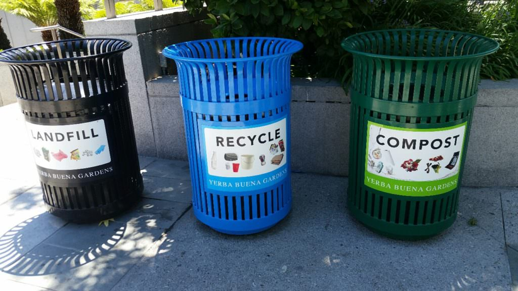 Landfill, Compost, Recycling bins