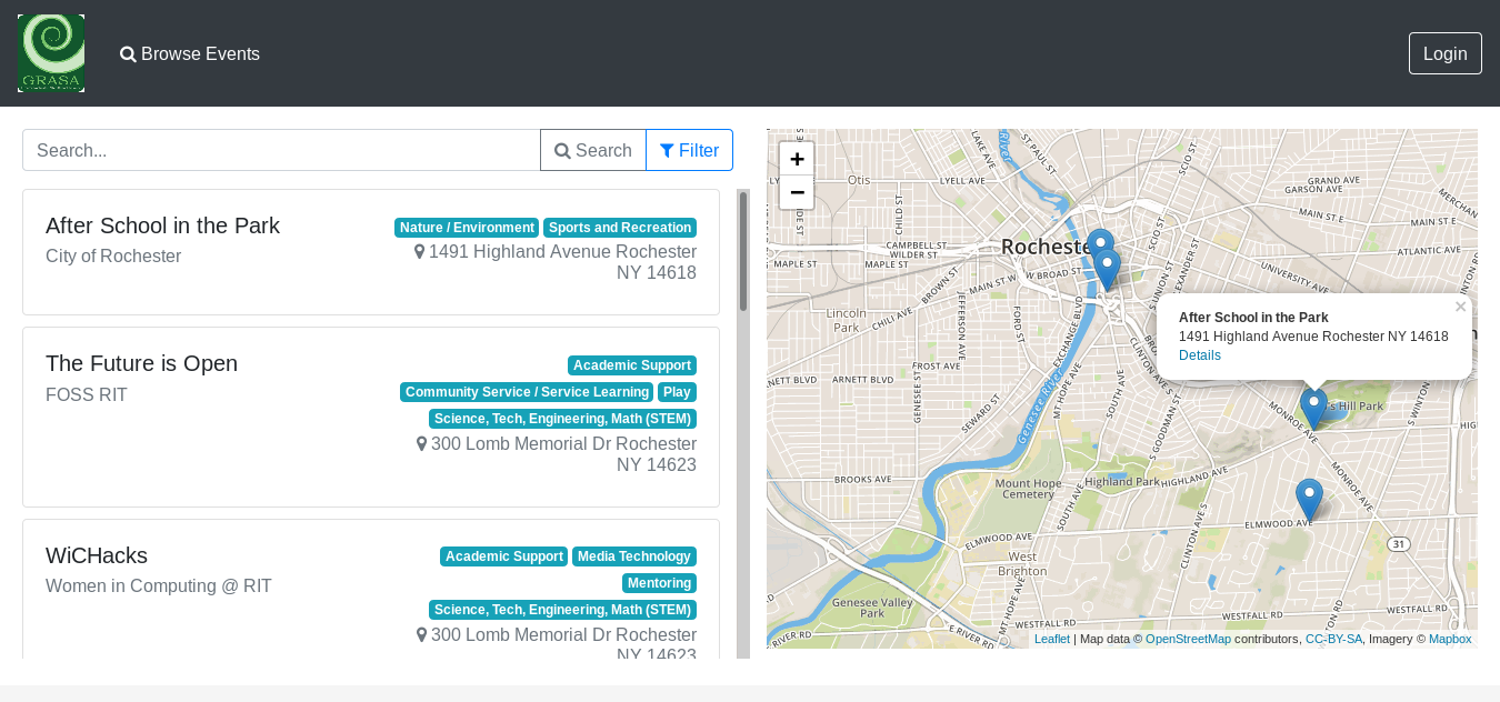 Screenshot of Event Locator home page