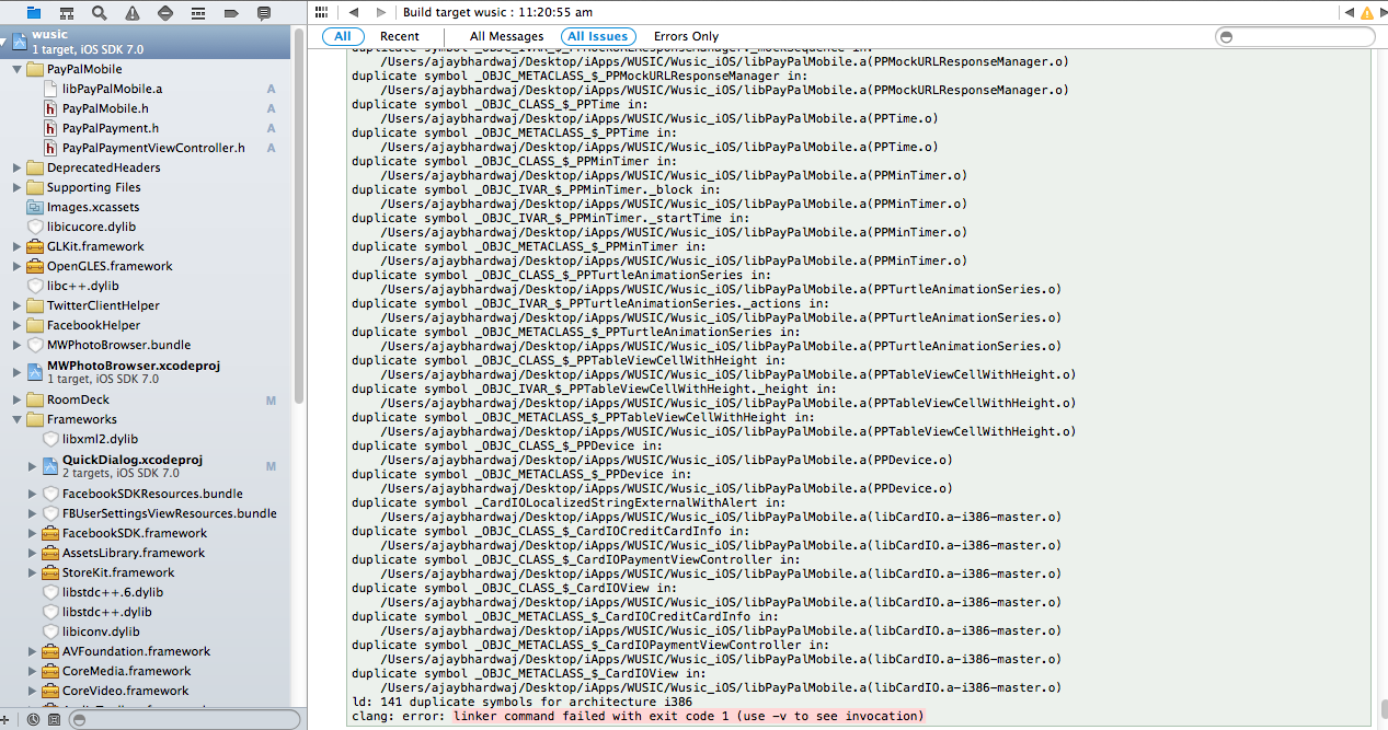 Duplicate Symbol Errors Issue 76 Paypalpaypal Ios Sdk Github