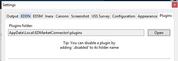 EDMC Settings Plugins Tab