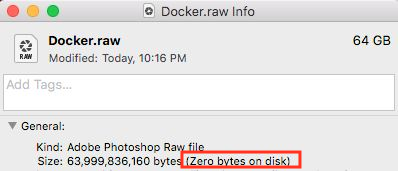 Docker raw reserving too much size · Issue #2297 · docker/for-mac