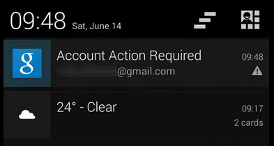 "persistant ""Account Action Required"" notification"