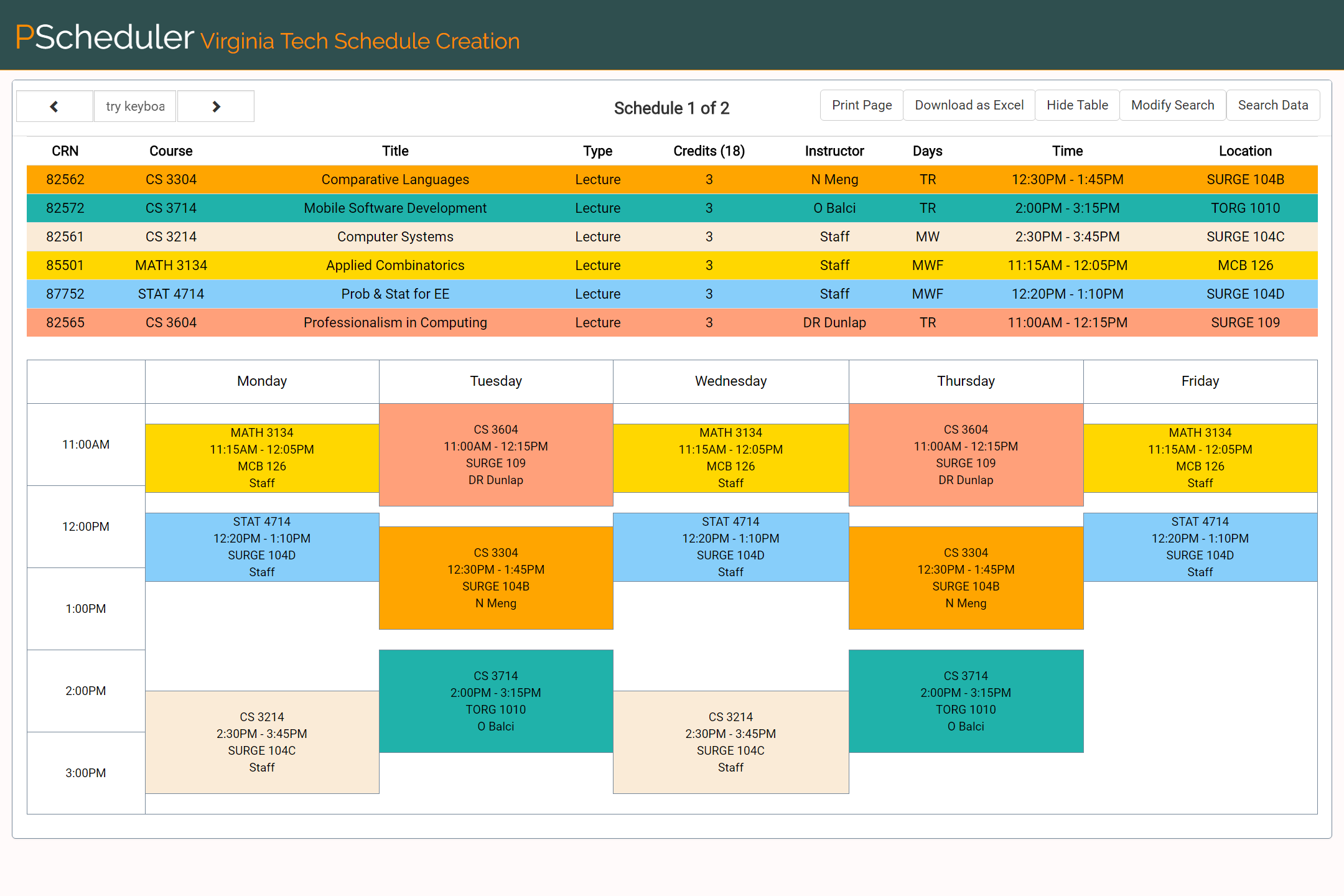 Image of generated schedules