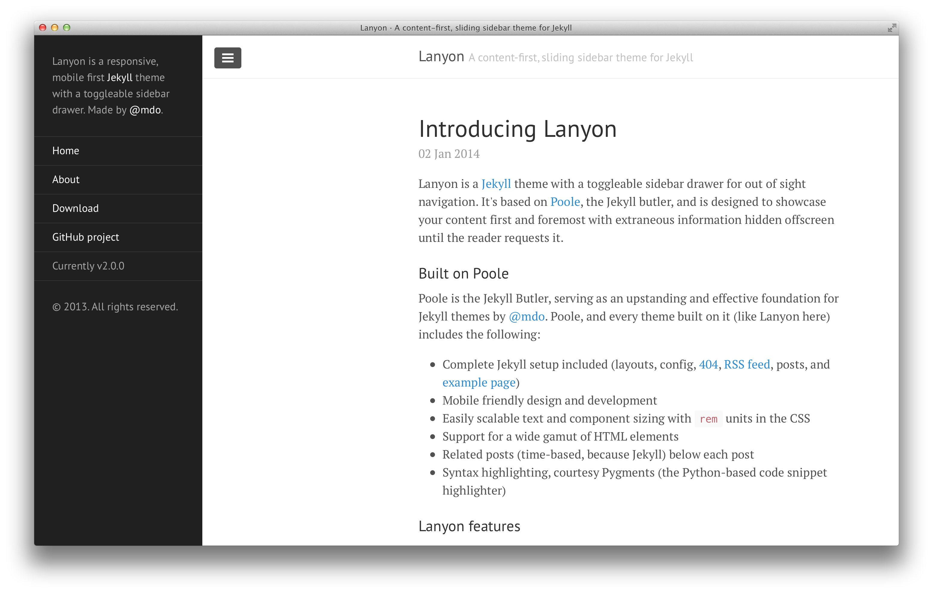 Lanyon with open sidebar