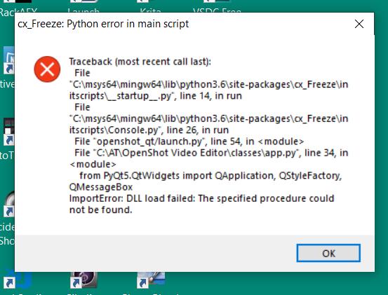 Windows Launch Issues (cx_Freeze errors) · OpenShot/openshot