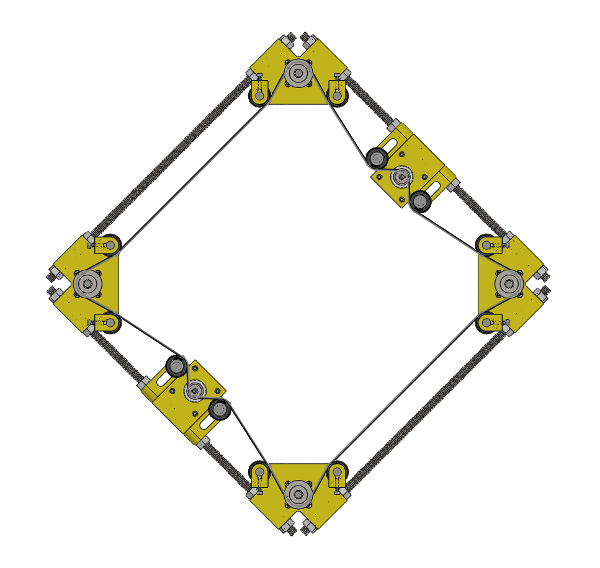 A set of four sprockets with the associated pulleys, motors, and drive belt