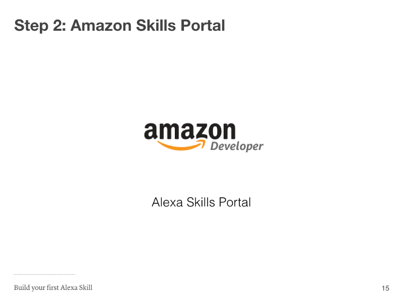 Step 2: Amazon Skills Portal