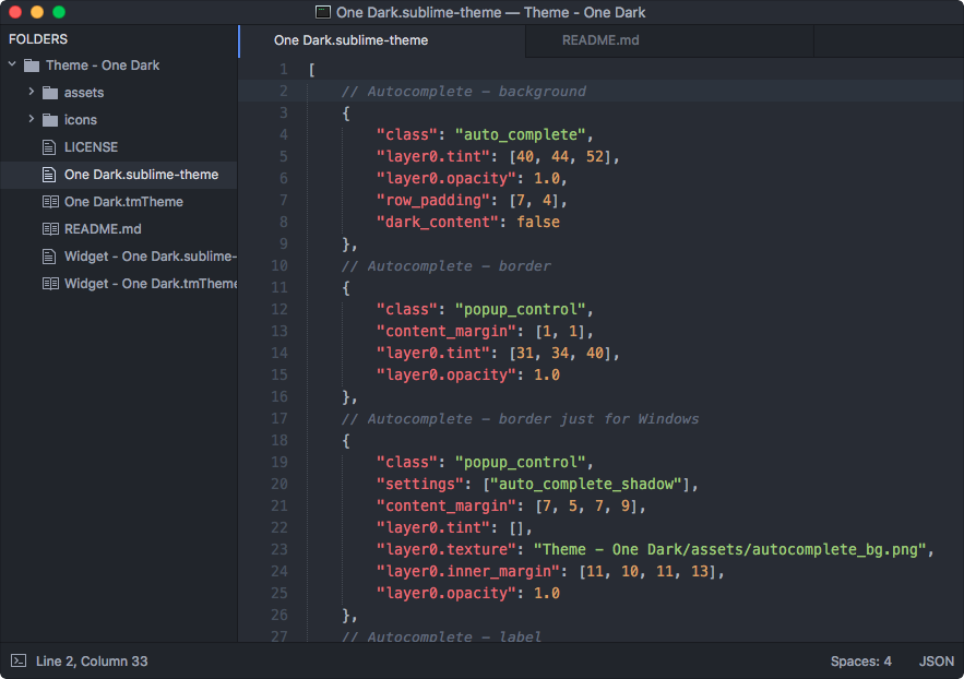 Sublime Text - One Dark theme