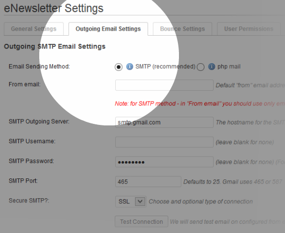 Outgoing Email Settings – how your newsletters are sent.