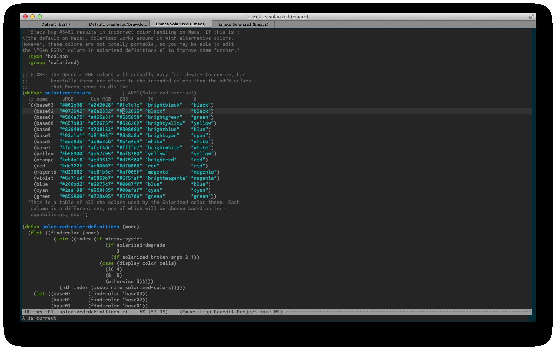 emacs -nw with Solarized Dark iTerm2 theme clobbers