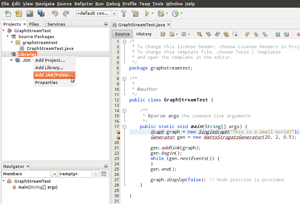 Importing libraries in NetBeans · Issue #108 · graphstream/gs-core