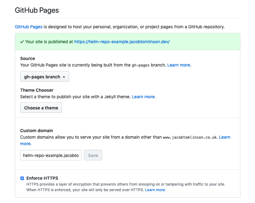 My GitHub Pages settings