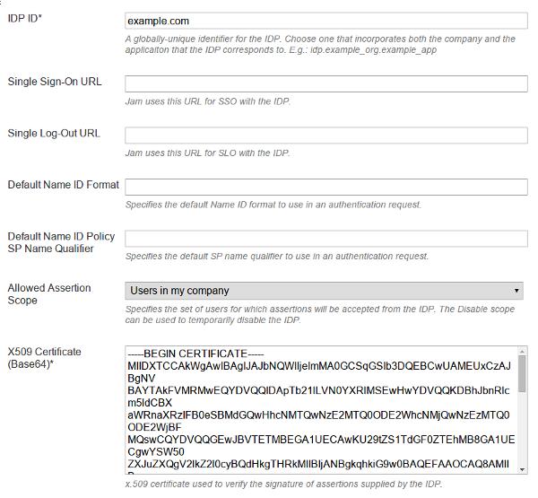 SAML IdP configuration