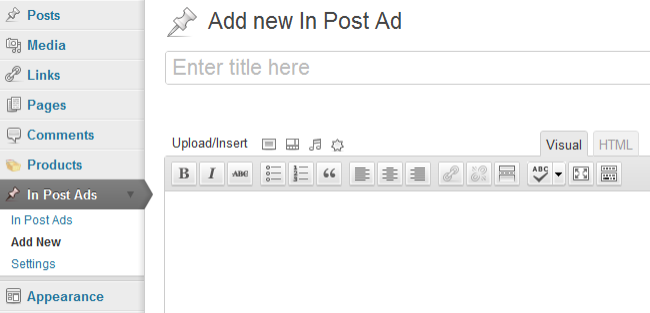 In post ads settings
