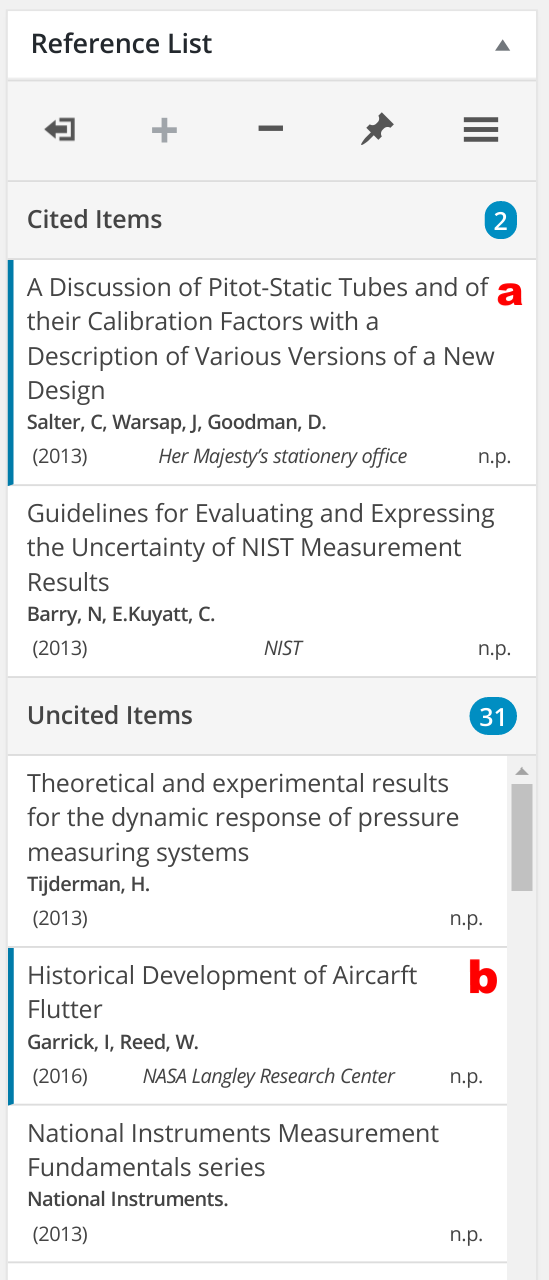 Cited and Uncited Lists