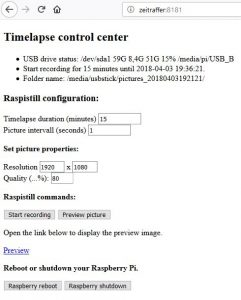timelapse web interface