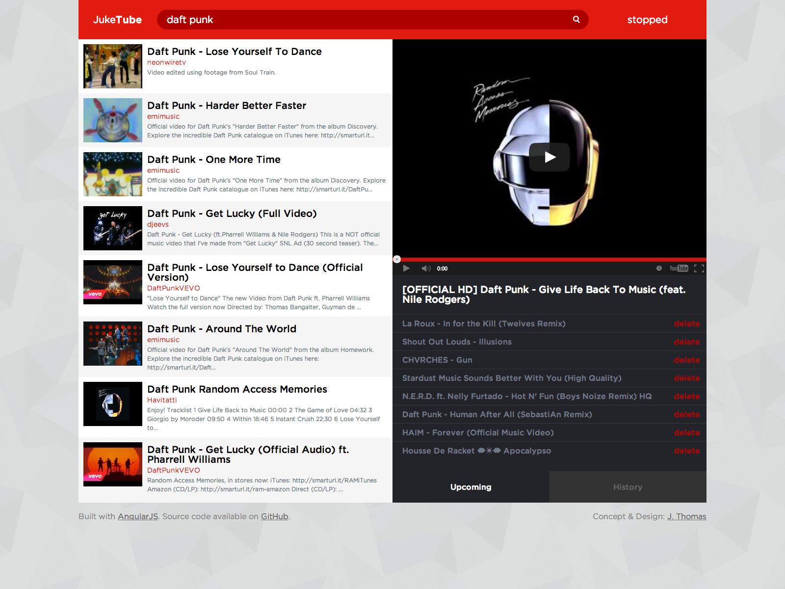 GitHub - jgthms/juketube: A YouTube jukebox built with AngularJS