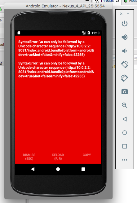Android - SyntaxError: \u can only be followed by a Unicode