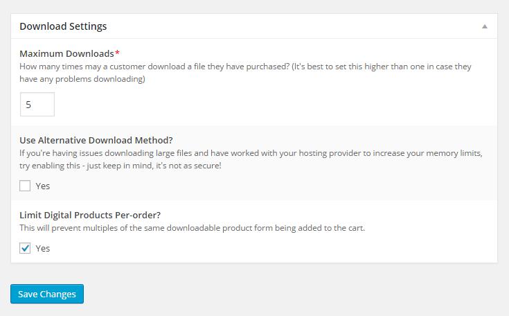 MarketPress - Digital Download Settings