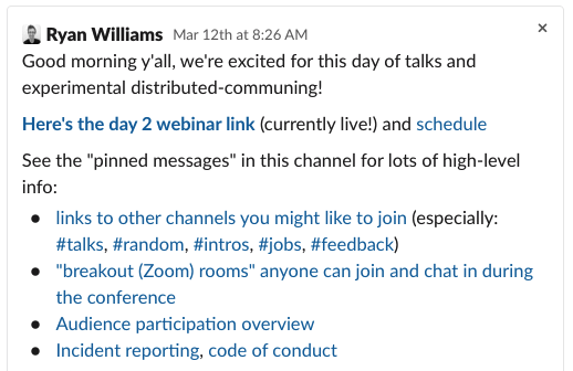 """""""Announcement"""" message using lots of Slack's rich-text functionality"""