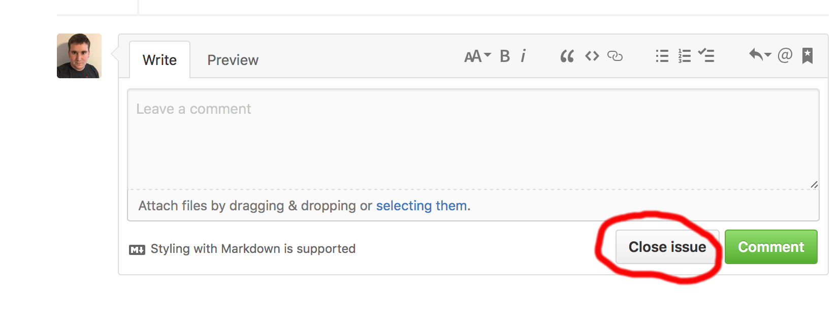 GitHub screenshot showing issue close button