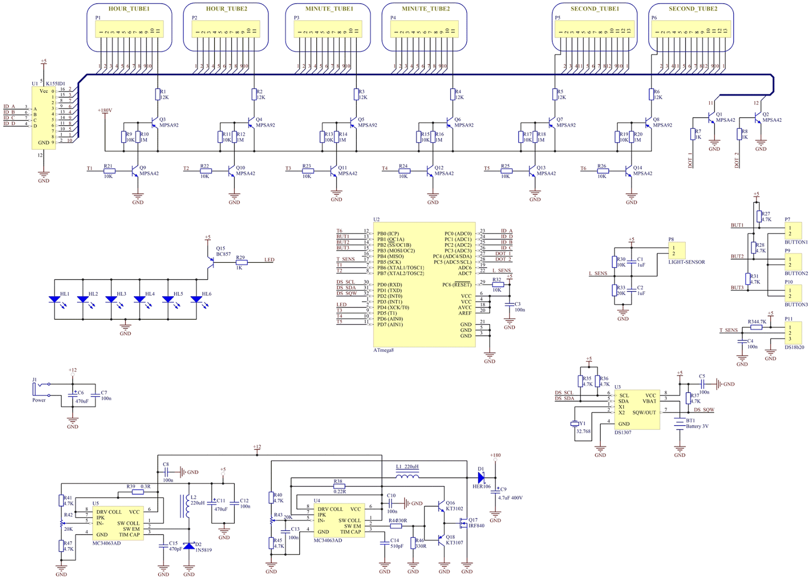 Schematic And Working Principle Evgeniybelov Dlc Wiki Github Nixie Clock Circuit Diagrams For This Reason I Wanted To Use Only One In My Project While There Are Many Projects Which Uses Driver Each Digit