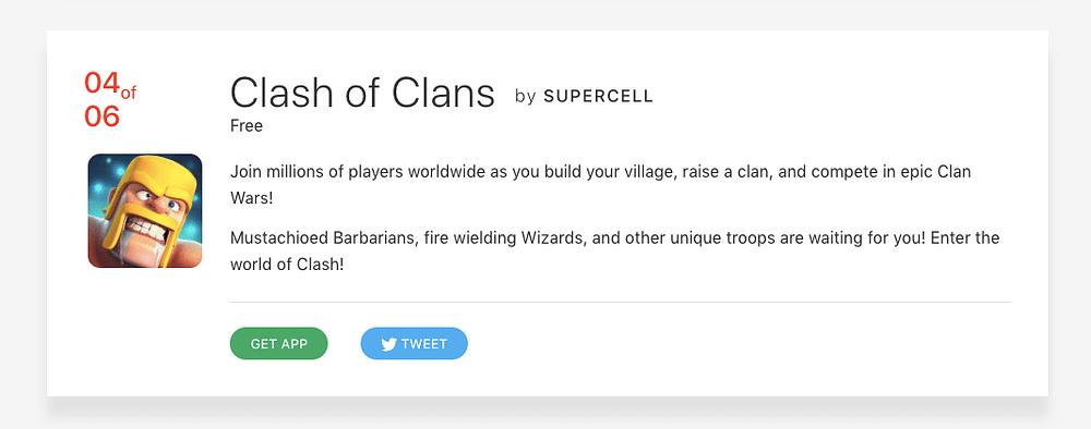 Clash of Clans app card