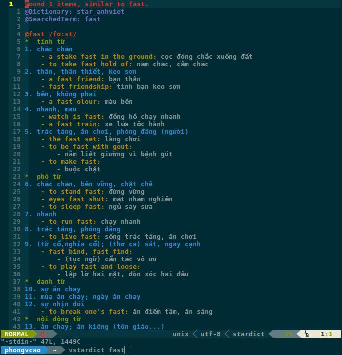 Redirect vim-stardict Bash output to Vim