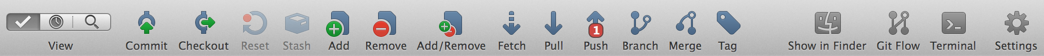 SouceTree toolbar with one item highlighted in the push action