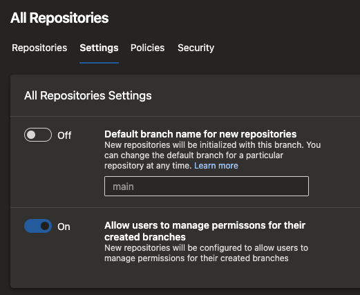 All repositories settings