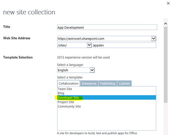 The new site collection page, showing Developer Site in the Collaboration tab under the label Select a template.