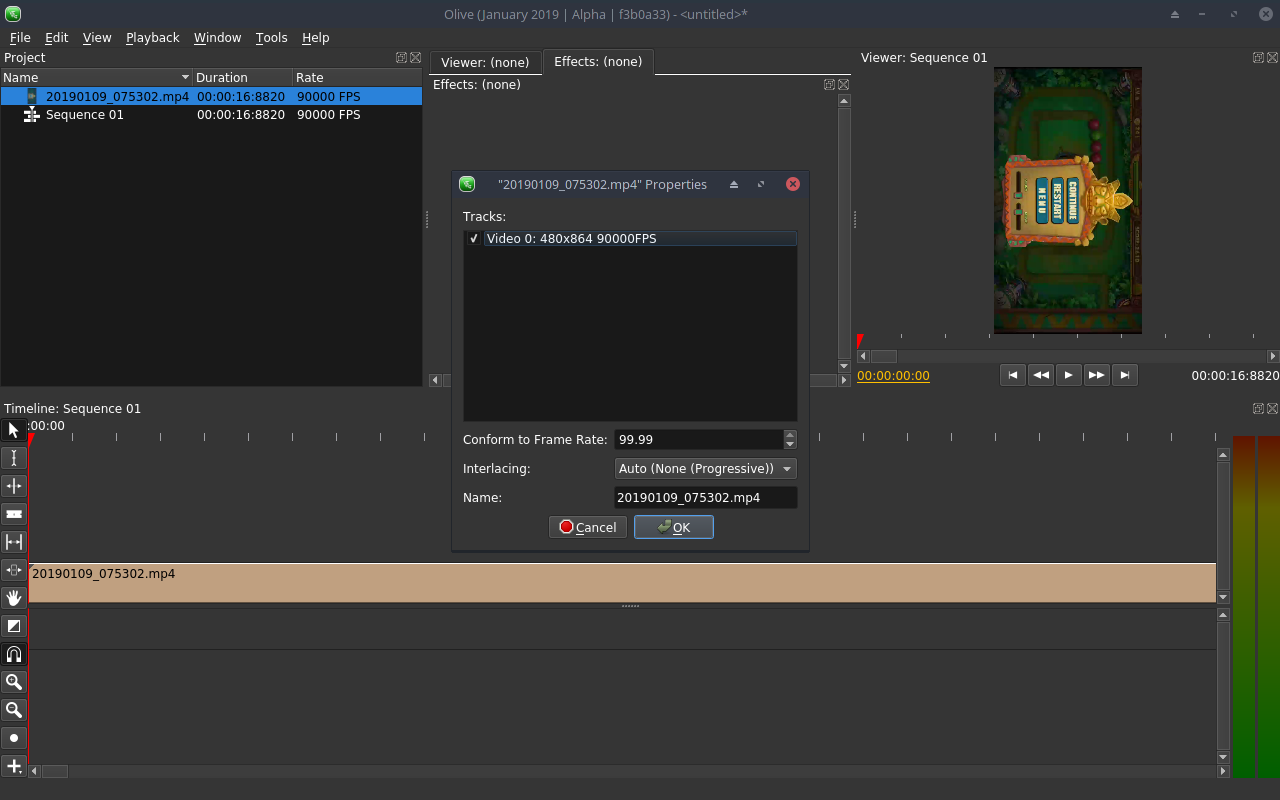 Screencast video (from Android) imported with 90000FPS