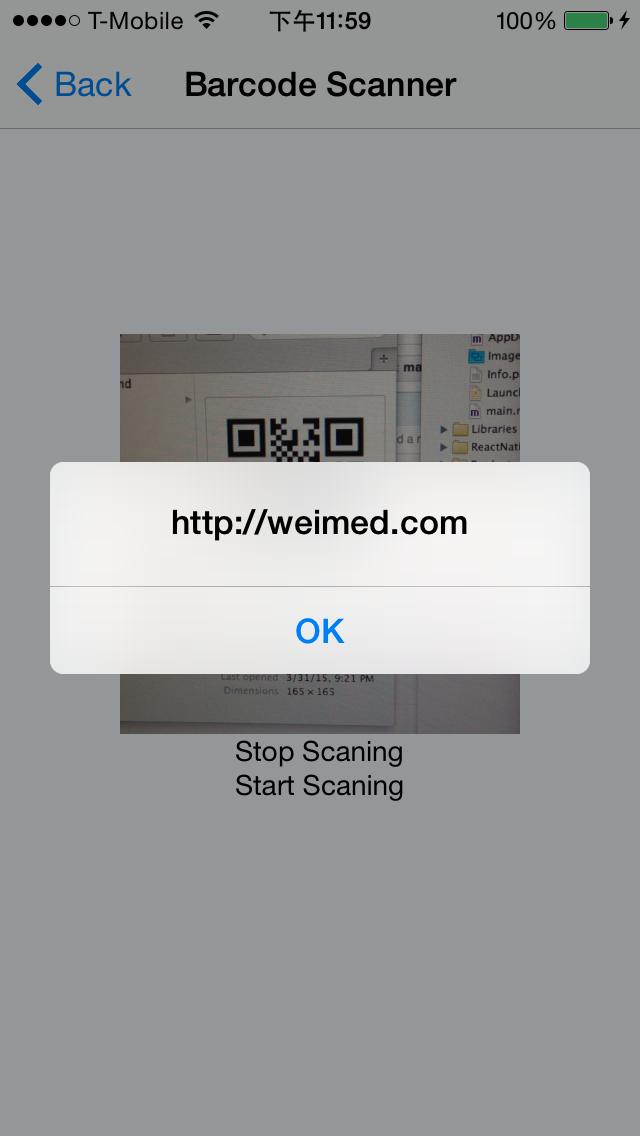 React Native Barcode Scanner - Scanning