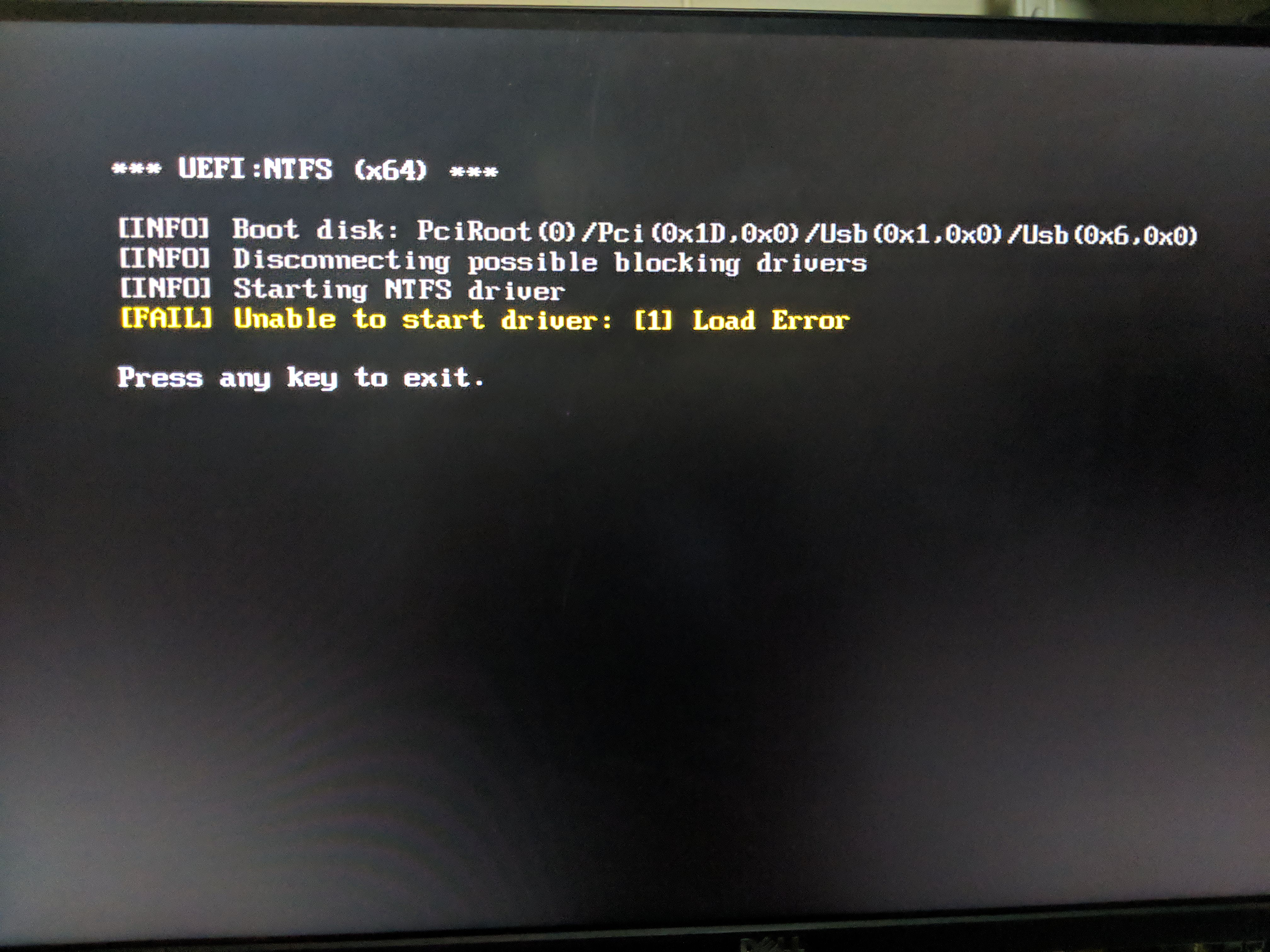 UEFI:NTFS - Unable to start driver: [1] or Could not start NTFS