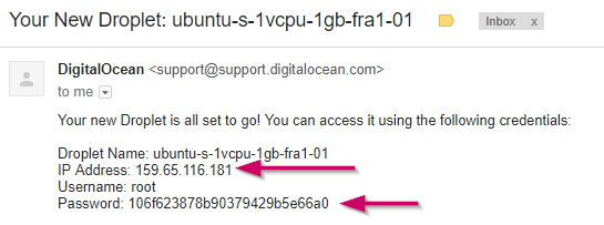New Droplet Deployed - Username and Password